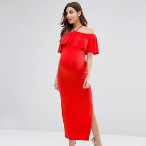 ASOS Maternity Ruffle Bardot with Neck Strap Maxi